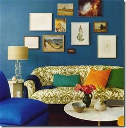 zilā krāsa interjerā