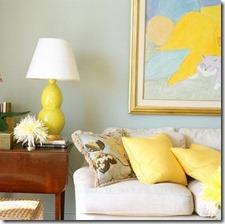 dzeltena krāsa interjerā