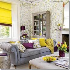 dzeltens interjers viesistabā